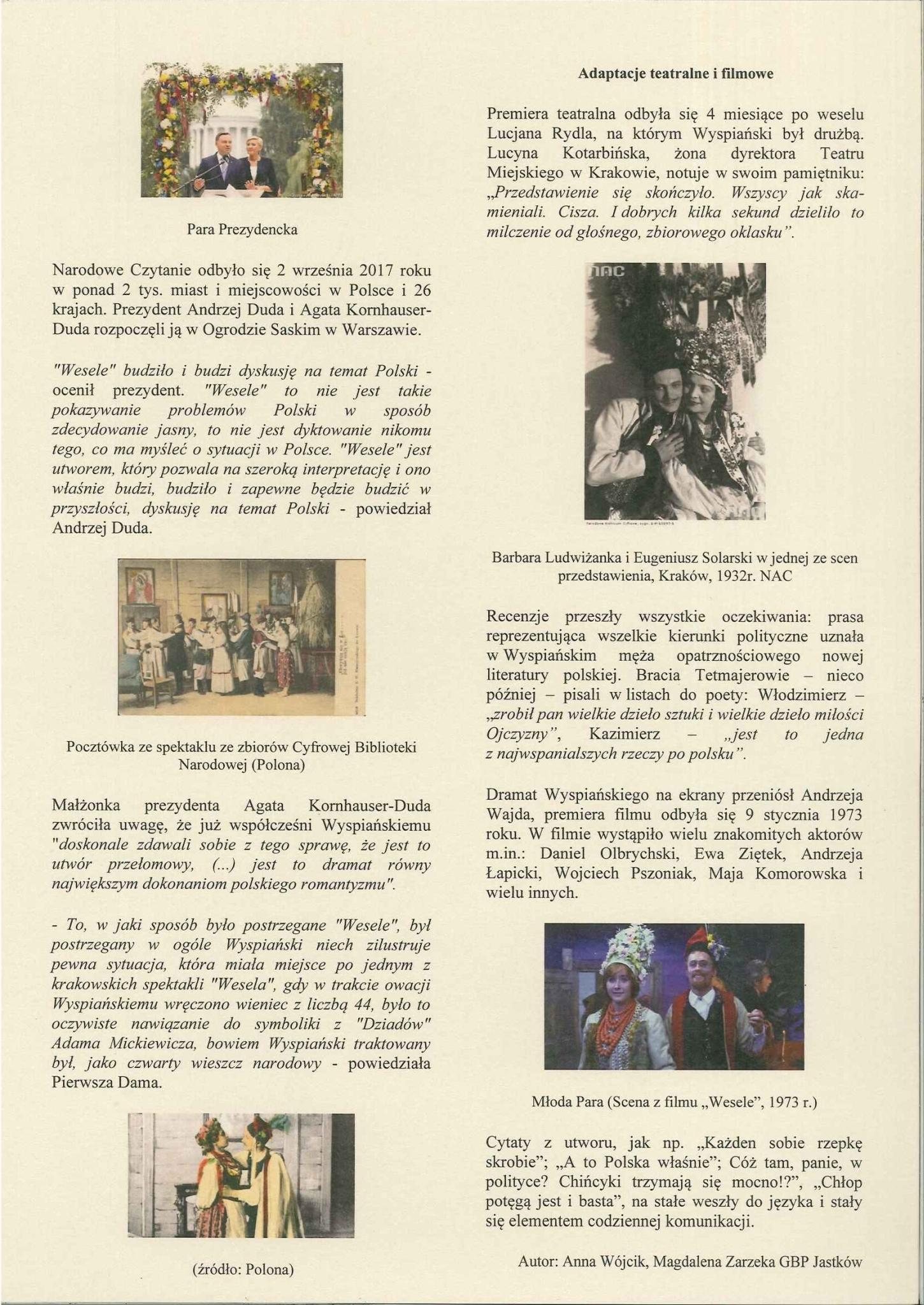 Iii Jastkowskie Czytanie Stanisław Wyspiański Wesele